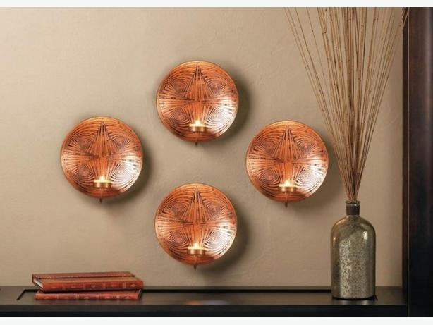 Geometric Round Metal Plate Candleholder Wall Sconce Copper Color Set of 4 New