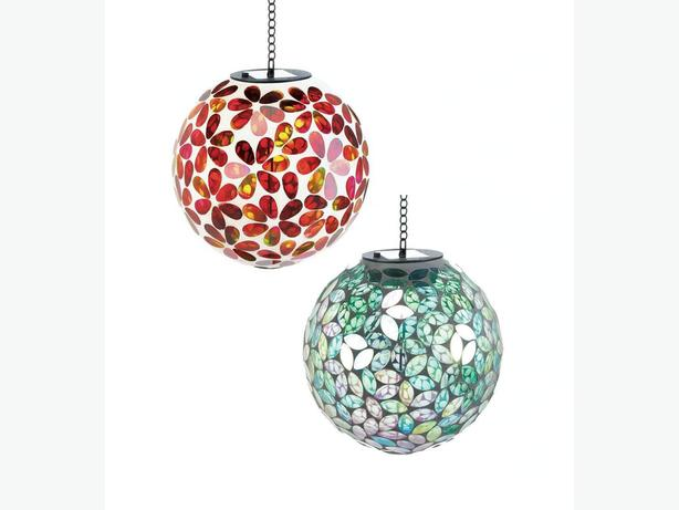 Hanging Solar Mosaic Glass Ball Ornament Red Green 2 Lot Mix & Match New
