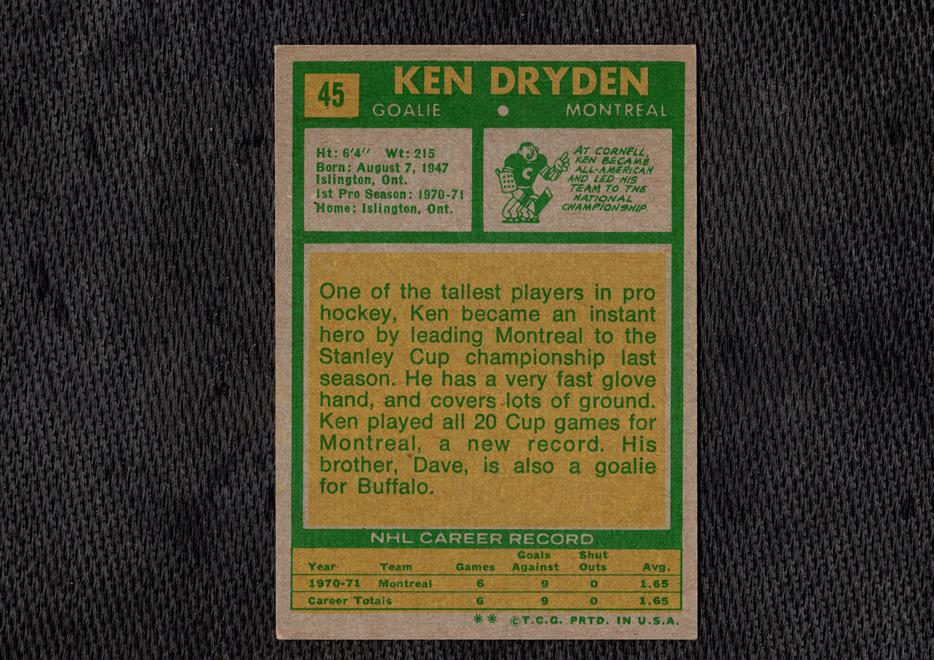100 Ken Dryden Rookie Card 1971 72 Topps Version