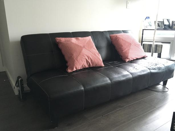 FREE: Black Leather Futon / Sofa