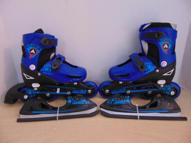 Inline Roller Skates 2 in 1 Ice Skates Child Size 12-2 Adjustable Airwalk  Blue cb53952ad