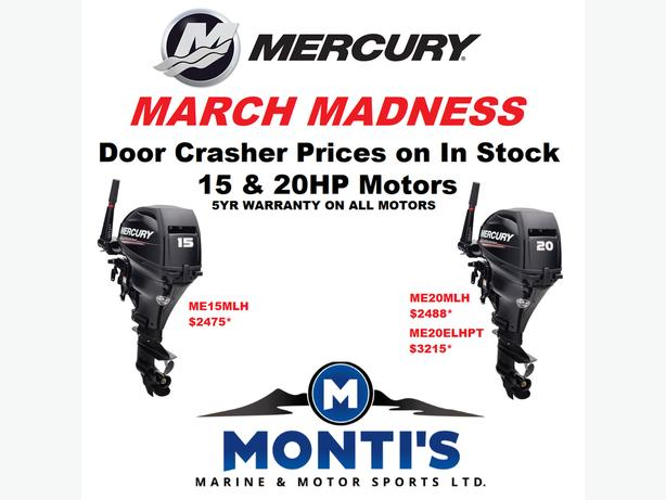Door Crasher prices on Mercury 15 & 20 Hp Outboards