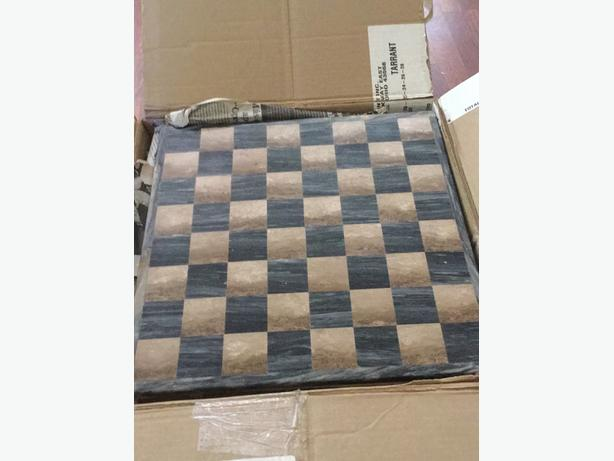 Marble vintage chess board and pieces