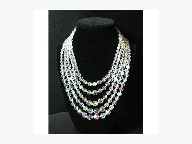 Vintage five strand aurora borealis (rainbow) cut crystal necklace