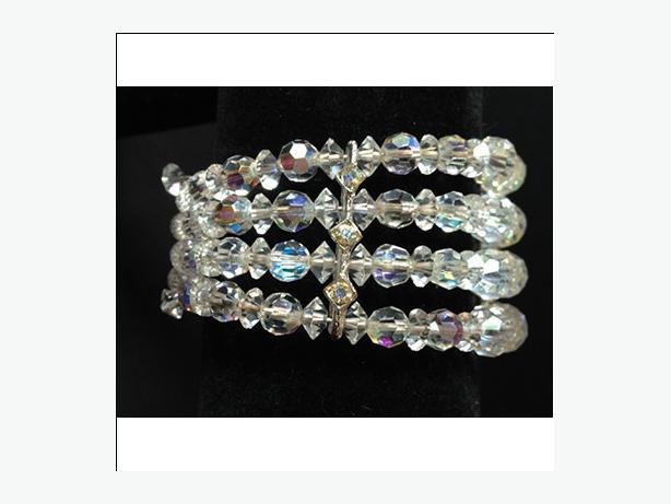 Vintage four-strand aurora borealis cut crystal wrap (memory wire) bracelet