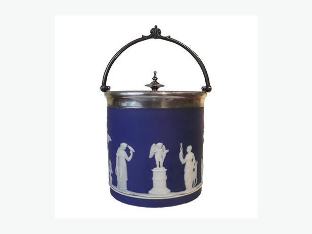 Antique Wedgwood dark blue jasperware biscuit barrel