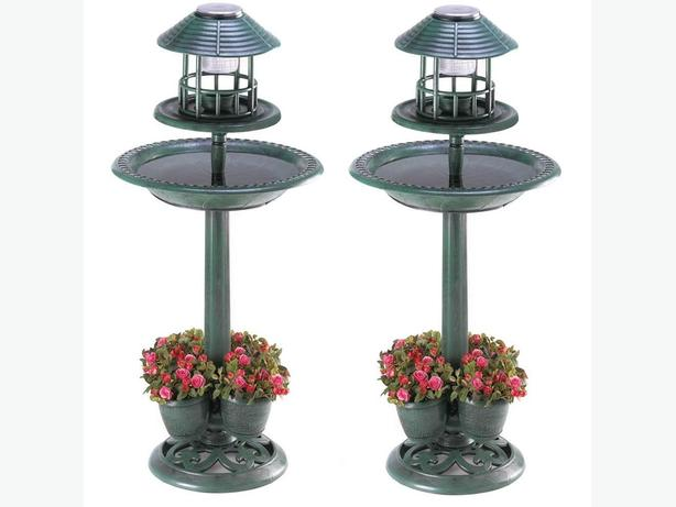 3-In-1 Solar Birdbath with Flowerpot Planter Base Set of 2 Brand New