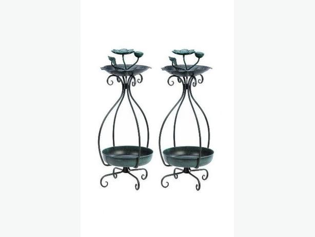 2-In-1 Metal Birdfeeder Plant Stand Set of 2 Brand New