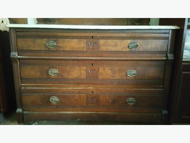 Carved 1880's dresser with marble top