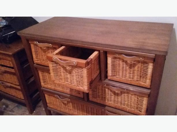 Wicker dresser and side table