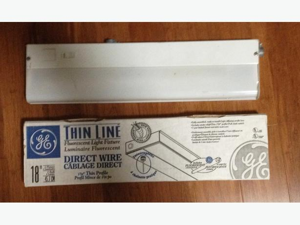 """Thin Line"" Fluorescent Light Fixtures, Two 18"" Long"