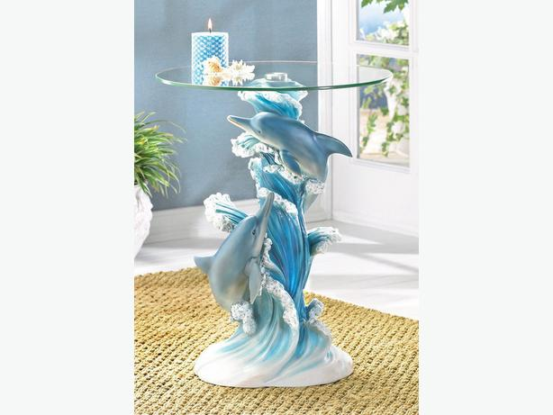 Figural Dolphins Novelty Accent End Table With Glass Top Brand New