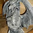 Stone-Look Winged Dragon Accent End Table With Glass Top Brand New