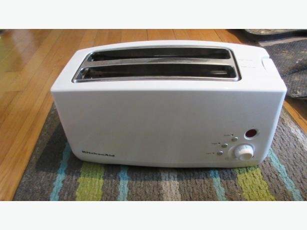 White extra long wide 4 slice Kitchenaid electronic toaster