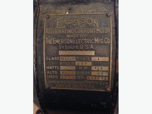 Highly Collectable Emerson 1/3 Horse Power Electric Motor