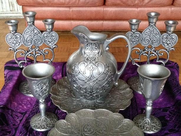 Forevermore Pewter Collection: trays goblets candelabra etc.