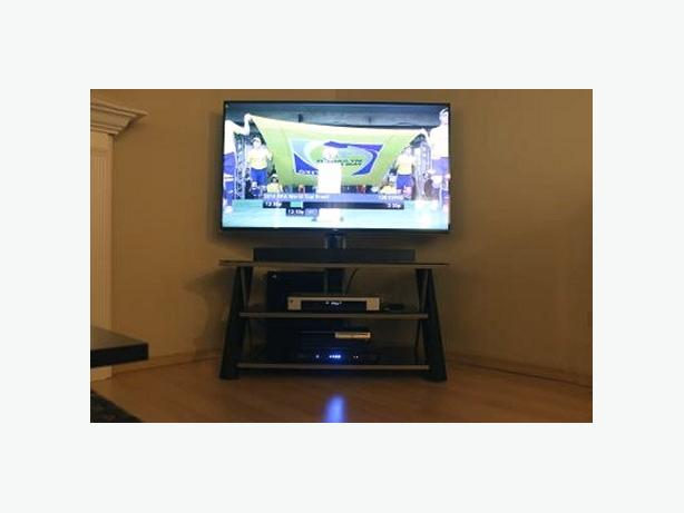 TV stand with integrated mounting bracket