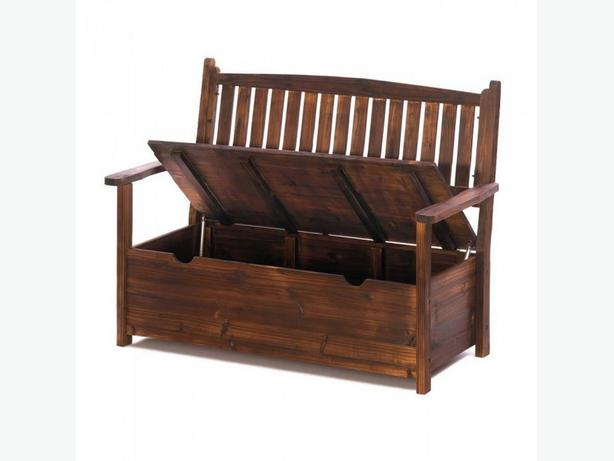 Indoor Outdoor Wood Storage Bench with Lift-Up Seat Brand New