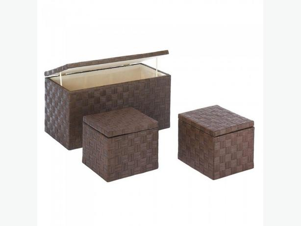 Woven Nesting Storage Trunks with Wood Frame & Fabric Lining 3PC Set Brown