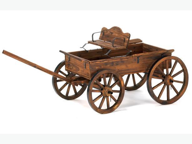 Western Style Rustic Wood Buckboard Wagon Yard Ornament with Rolling Wheels New