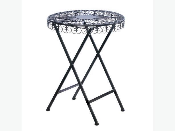Fleur-De-Lis Black Cast Iron Folding Patio Table Brand New Round