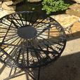 Fleur-De-Lis Black Cast Iron Folding Round Table Patio Plant Stand NEW