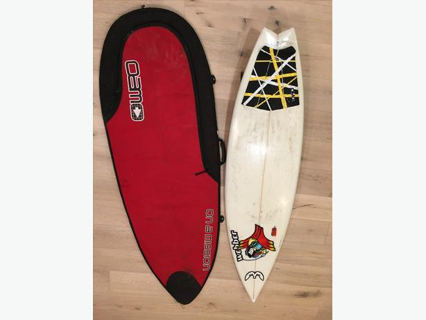 Greg Webber After Burner surfboard and boardbag