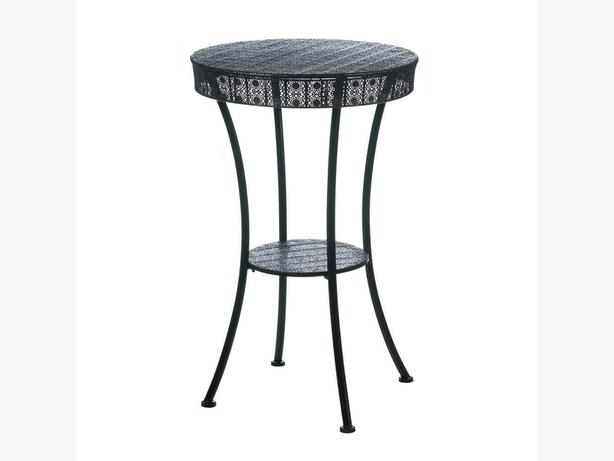 Indoor Outdoor Small Black Iron Round Patio Table Plant Stand with Display Shelf