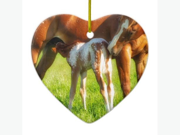 Dreamy, new horse foal with Mama Ceramic HEART Ornament