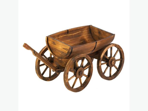 Country-Style Rustic Half Barrel Wooden Wagon Cart Planter with Wagon Wheels New