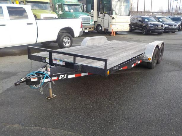 2017 PJ 18 Foot Flat Deck Trailer with Loading Ramps