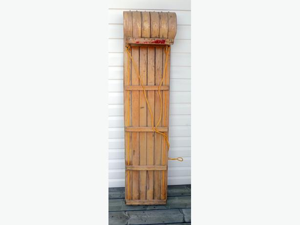 Wood Toboggan 57 ½   x 13 ½ x 8 1/4 inches