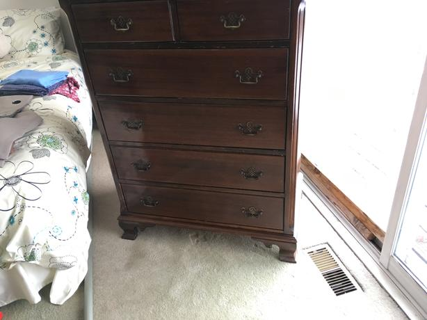 "chest mahogany 45"" H 34"" W 20"" D"