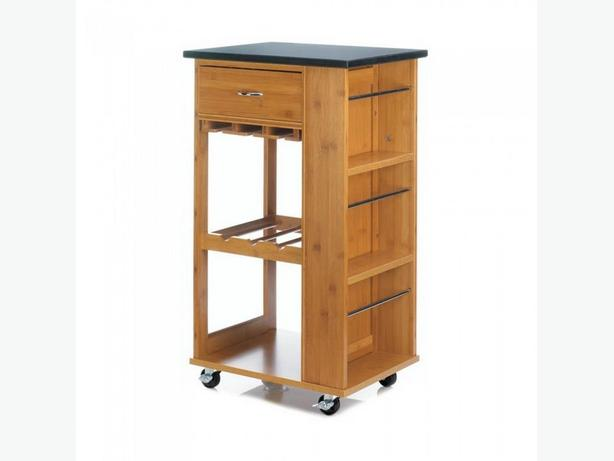 Bamboo Kitchen Cart with Marble Top Side Storage 2 Shelves & Drawer Brand New