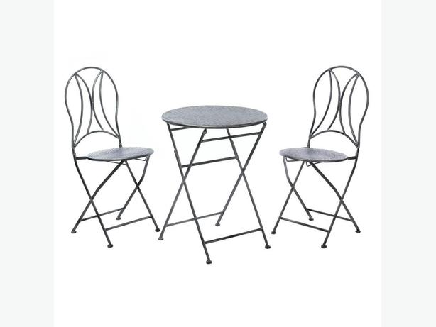 Black Textured Metal Bistro Chairs & Table Patio Furniture Set 3PC New Folds Up