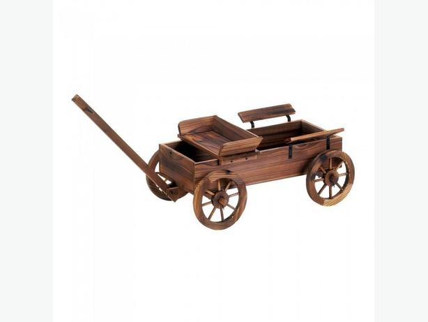 Country Western Old World Wooden Planter Cart with Wagon Wheels New