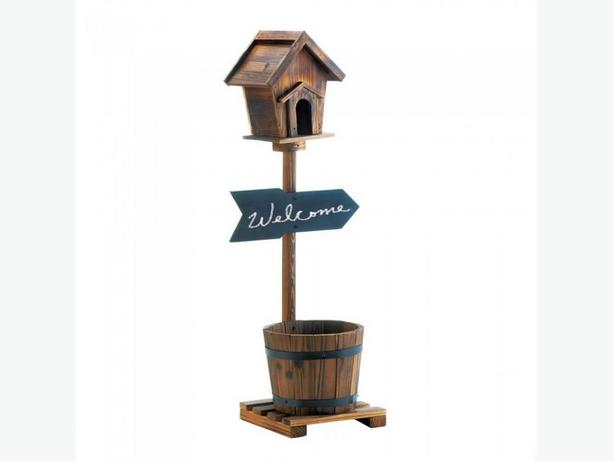 Rustic Wood Standing Birdhouse with Bucket Barrel Planter Base