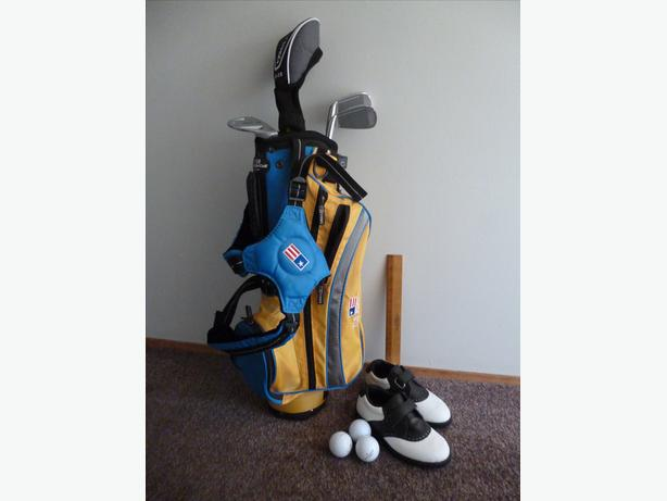 Junior Golf Clubs and shoes