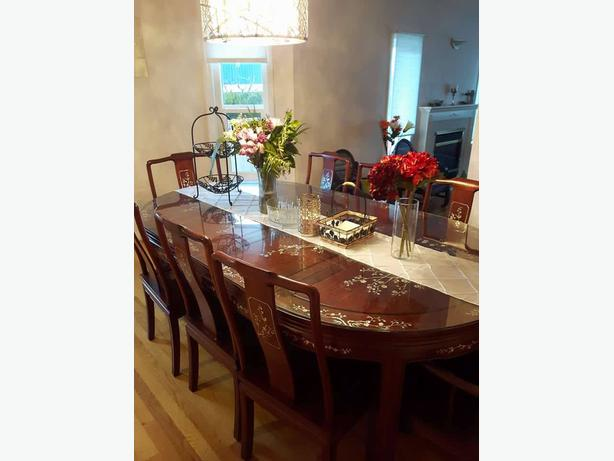 Chinese Rosewood Dining Set: TABLE + 8 CHAIRS