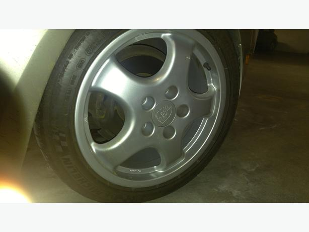 "Porsche 17"" Cup wheels and Michelin Sport Pilots, perfect 944 fitment"
