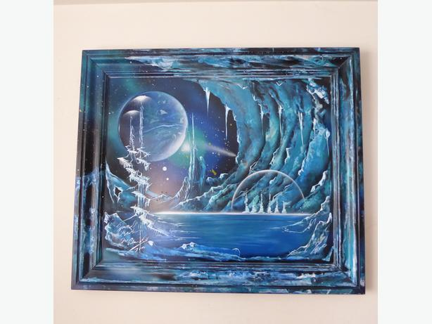 "ONE-OF-A-KIND PAINTING ENTITLED ""ICE PLANET"" -- SIGNED & ORIGINAL -- MINT"