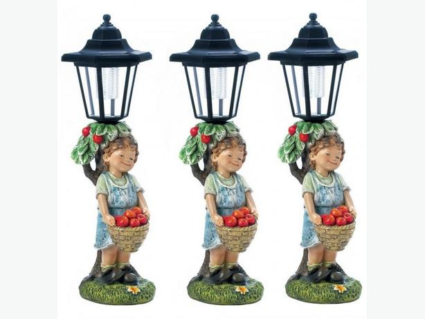 Cute Kid Little Boy Lamp Post Pathway Solar Light Apple Basket Accent 3 Lot New