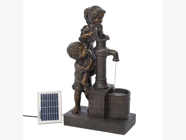 Cute Kids Girl & Boy At Well-Pump Solar Fountain with Electric Adapter New