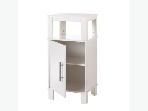 Versatile White Storage Bathroom Floor Cabinet Nightstand Open Display Shelf New