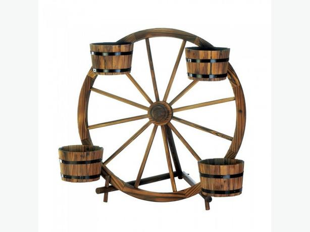 Wooden Wagon Wheel Plant Display with Bucket Flower Pots Brand New