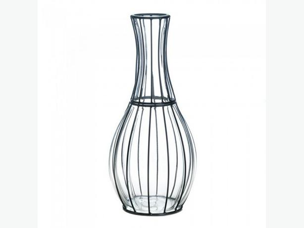 Clear Glass Vase with Metal Framework 2 Styles Mixed Brand New