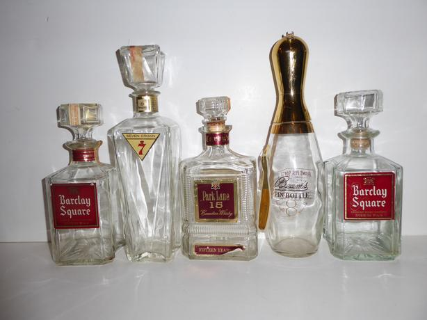 5 VINTAGE LIQUOR DECANTERS (EMPTY) FOR YOUR BAR SERVICE AREA