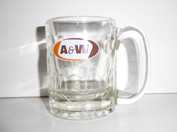 3 VINTAGE 1960s HEAVY BASED GLASS A&W ROOT BEER MUGS -- MINT