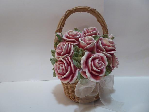 """BASKET OF PINK ROSES"" MUSIC BOX -- MINT"