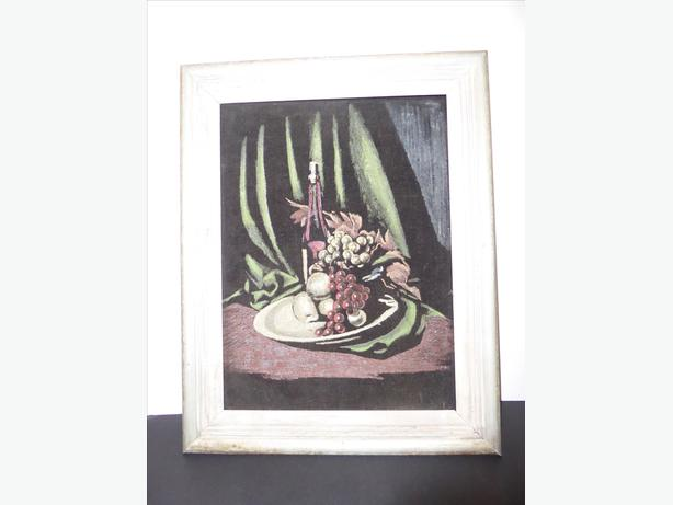 TRADITIONAL PAINTING OF FRUIT BOWL & WINE BOTTLE ARRANGEMENT WITH FRAME